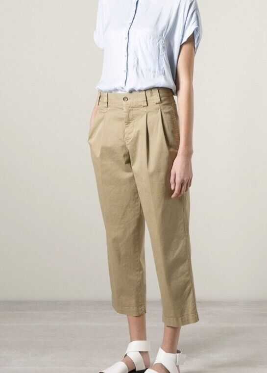 RED VALENTINO Cropped Pleated Trousers Beige Cotton Size 44, 170 92A