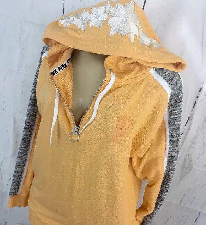 Victoria's Secret Hoodie Sweatshirt Oversized Oversized Oversized Tunic PINK Embroidered Floral XS e89440