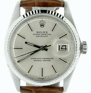 Rolex-Datejust-Men-Stainless-Steel-18K-White-Gold-Watch-Silver-Dial-Brown-1601