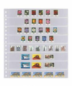 1 Lindner 828 Transparent Pockets Horizontal 8x 30x242 mm For Coil Stamps