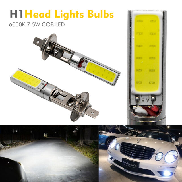 2X H1 Xenon White 6000K 7.5W COB LED SMD DRL Driving Fog Beam Head Lights Bulb