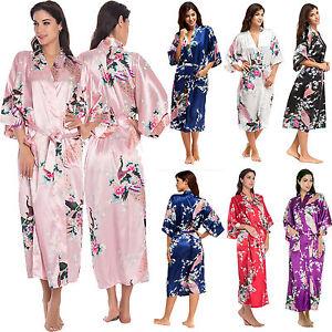 Womens-Satin-Silk-Robe-Kimono-Dressing-Gown-Vintage-Wedding-Bridal-Bridesmaid-AU