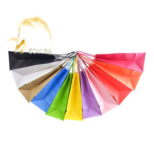 Candy Color Small Kraft Paper Gift Bags With Handle