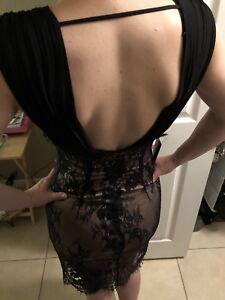 Black-Beige-Lace-Bebe-Dress-Size-0-159