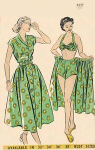 "Vintage 1940/'s Sewing Pattern Bathing Suit Swim Suit Beach Coat Bust 32/""  PinUp"