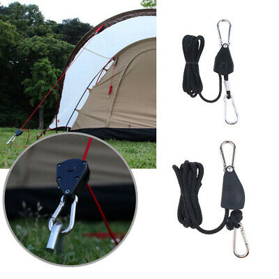 4x 1//8/'/' Rope Ratchet Clip Hanger Reinforced Camping Awning Tent Tensioners