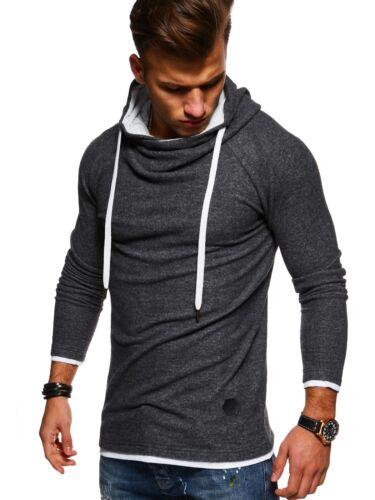 MT Styles hoodie Henley Pullover Troyer con cappuccio Pullover Nero//Grigio//Rosso Nuovo