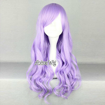 70cm Long Curly Light Purple Lolita Women Lady Cosplay Party Full Hair Wig New