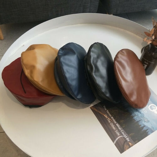 Vintage Womens Ladies Faux PU Leather Beret Hat French Cap Winter Gifts YEHN