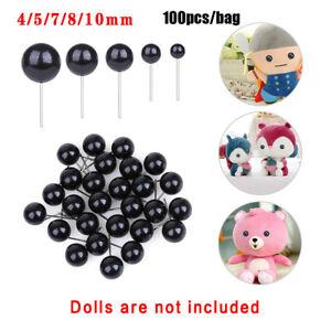 100Pcs Black Glass Dolls  Eyes Bears Needle Felting Animals Puppets making