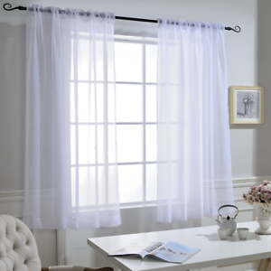 NICETOWN Small Window Sheer Curtains High Thread Crushed Sheer Voile with Rod x