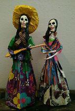 Set of 2 Catrinas *Dia de los Muertos* Dolls Warrior Peasant Mexico 15 inches