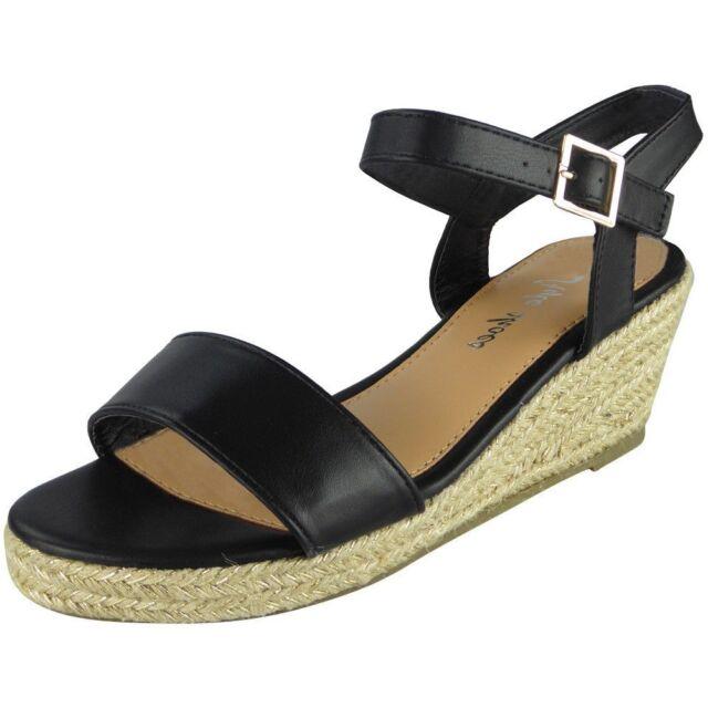 ba123e6ce632 Womens Ankle Strap Wedges Ladies Espadrilles Comfy Low Heel Buckle ...