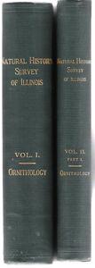 1913-Ornithology-Natural-History-Survey-of-Illinois-2-Volumes-Hardcover-Birds