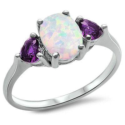 White Australian FIRE Opal & Amethyst.925 Sterling Silver Ring Sizes 3-12