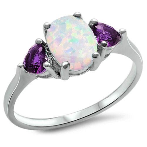 White Australian Opale de Feu /& Amethyst .925 Sterling Silver Ring Taille 3-12