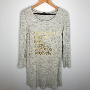 Aerie Size Large Gray Thermal Gold Letter Graphic Long Night Shirt