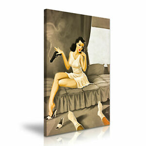 Pin-Up-Retro-Girl-CANVAS-WALL-ART-PICTURE-PRINT-STRETCHED-20X30-INCHES