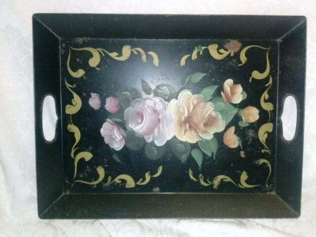 Vintage Tole Paint Chic Shab Cabbage Rose Black Metal Bed Serving Tray+ Handles