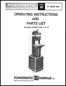 Details about Powermatic Model 141 14 Inch Band Saw Manual