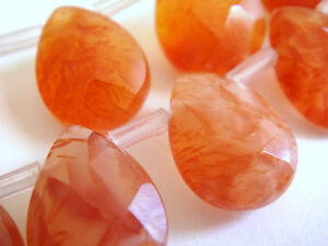 10x14mm Faceted Briolette Teardrop Shape Carnelian 7-8 Inches Stones Beads @^