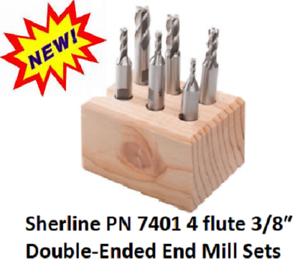 Sherline PN 7401 3//8″ Double-Ended End Mill Sets 4 Flute