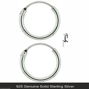 Women-Men-Genuine-Solid-925-Sterling-Silver-Hinged-Hoop-Sleeper-Earrings
