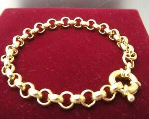 14ct-14K-Yellow-gold-belcher-bolt-ring-chain-solid-womens-mens-bracelet-18cm