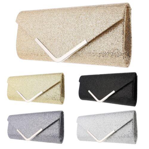 Women/'s Glitter Envelope Bag Shimmer Bridal Party Clutch Evening Handbag Prom UK