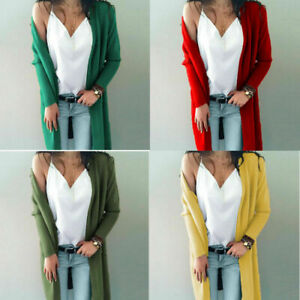 Women-Long-Sleeve-Knit-Open-Front-Cardigan-Top-Jacket-Jumper-Coat-Sweater-S-XL