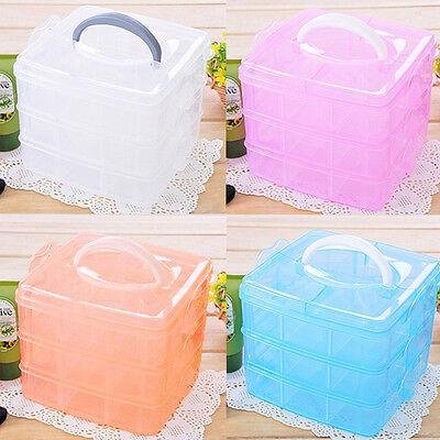 3 Layer Plastic Slot Hand Carry Travel Storage Box Organizer Cosmetic Cas No7JKH
