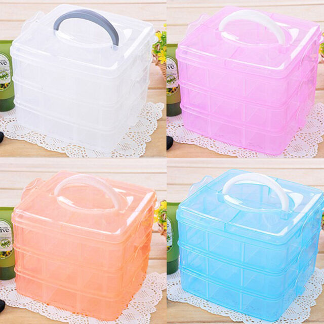 3 Layer Plastic Slot Hand Carry Travel Storage Box Organizer Cosmetic Cas No7JKH
