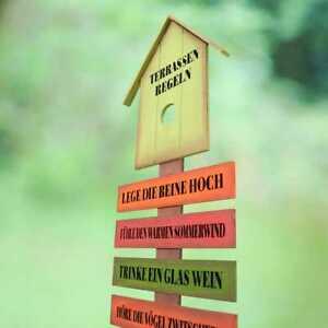 Gartenstab Terrassenregeln Holzschild Garten Schild Gartendeko