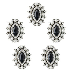 5x Vintage Alloy Rhinestone Crystal Oval Buttons Embellishment Jewelry Black