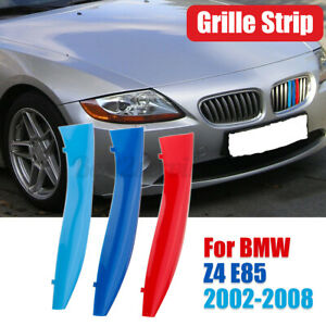 3x M-Color Car Kidney Grille Sport Strips Cover Clip For BMW E85 Z4 2002-2008