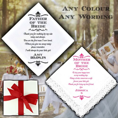 Mother Father of the Bride Personalised Handkerchief Wedding Gift Poem Mum Dad !