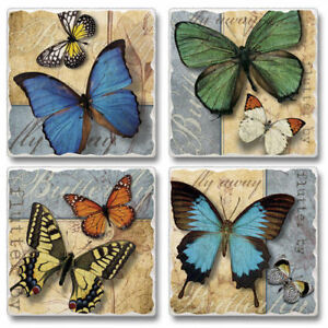 Mixed-Absorbent-Tumbled-Stone-Coasters-Set-of-4-Flutter-By-Butterfly-Butterflies