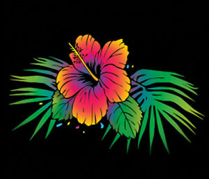 Colorful Neon Hibiscus Flower T Shirt Plus Size Or Supersize T469f