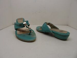 Sofft-Women-039-s-Brescia-Leather-Slip-On-Thong-Sandals-Teal-Size-8-Used