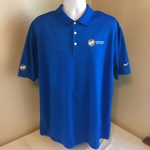 Nike Golf Dri Fit Polo Shirt Mens Blue W White Sports Page Ski Logo