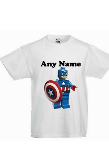 CAPTAIN AMERICA LEGO HEROS PERSONALISED CHILDREN/'S PRINTED T SHIRT