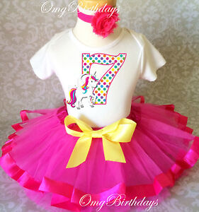 Image Is Loading Unicorn Rainbow Horse Pink Girl 7th Birthday Tutu