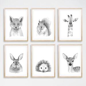 Noir-amp-Blanc-Woodland-Animal-Art-Prints-Nursery-Childrens-Bedroom-photos-Gris