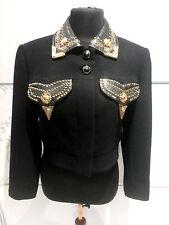 Gianni Versace 1992/1993 BONDAGE COLLECTION Black Wool Studded Cropped Jacket 40