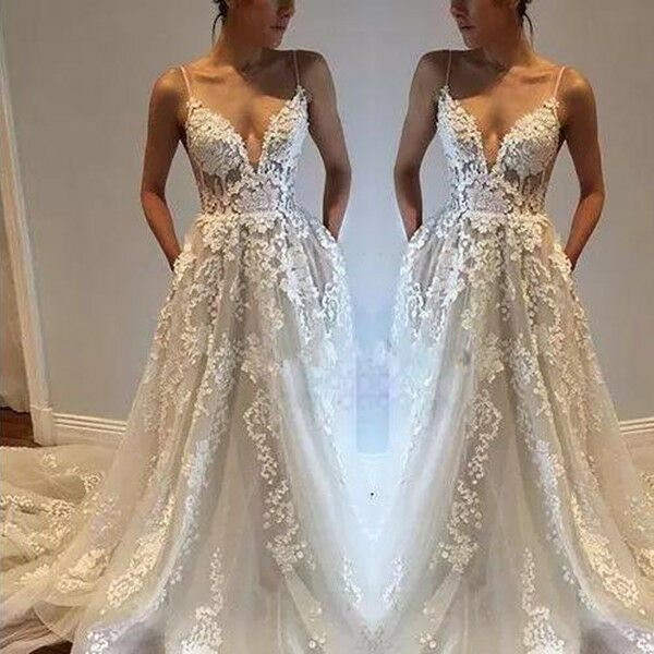 2018 Spaghetti Straps Backless Lace Appliqued Beach Wedding Dresses