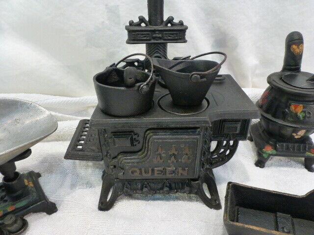 Hierro Fundido Vintage Antiguo Reina Estufa Horno de 4 Piezas Conjunto de Juguete vendedor de muestra