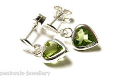 Sterling Silver Peridot Heart drop Earrings Gift Boxed Made in UK