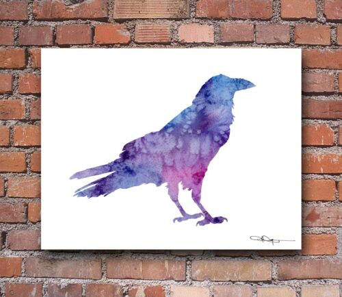 Raven Abstract Watercolor Painting Art Print by Artist DJ Rogers
