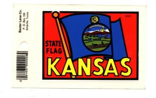 New Free S/&H Lot of 12 Kansas State Flag Luggage Decals Stickers