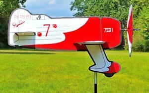 Windspiel-Windrad-Flugzeug-Gee-Bee-Flieger-Windmuehle-Gartenwindrad-Gartenwindrad